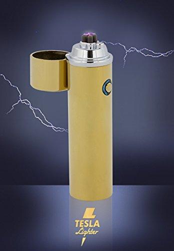 *Tesla Lighter T02 Lichtbogen Feuerzeug USB Feuerzeug Arc Lighter elektronisches Feuerzeug wiederaufladbar verschiedene Farben (Gold doppelter Lichtbogen)*