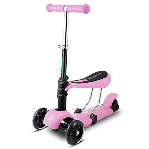 Ancheer 3-in-1 Kleinkinder-Scooter   3 Räder Mini Kick Scooter mit abnehmbarem Sitz, LED blinkt Räder und verstellbare Lenker für für Babys, Kleinkind und Jüngere Kinder,geeigneter Alter:3-8 (Roller Mini Kick)