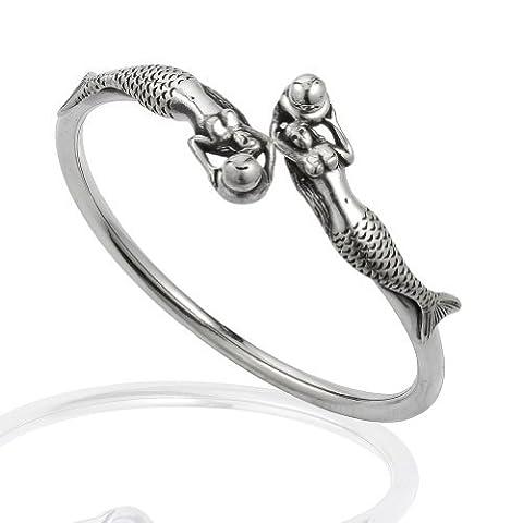 925Sterling Silber Swimming Twin Ocean Meerjungfrauen Manschette Armband
