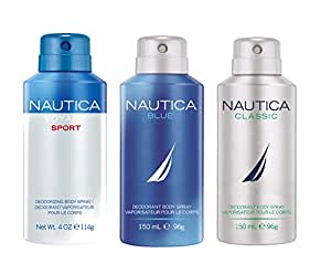 Nautica Deo Combo Set, Voyage Sports, Blue, Classic, 150ml (Pack of 3)