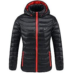 Chaqueta TéRmica EléCtrico USB Calefactable Jacket Encapuchado Invierno Hombre CáLido Ropa Lavable para Acampar Al Aire Libre,Red,XXL