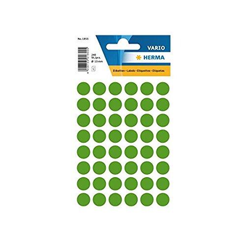 HERMA 1855 Círculo Verde 240pieza(s) - Etiqueta autoadhesiva (Verde, Círculo, Mezclar, 1,3 cm, 240 pieza(s))