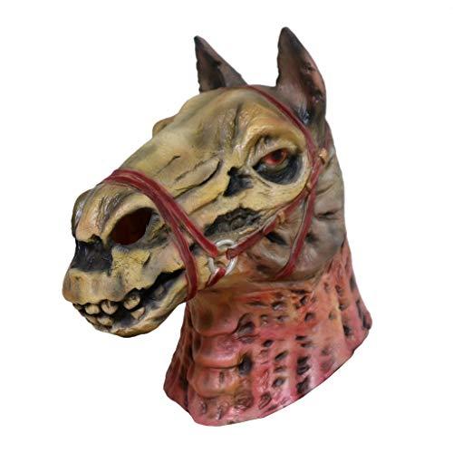 Einen Pferdekopf Sie Machen Kostüm - Altsommer Schädel Pferdekopf Maske Melting Face Adult Latex Kostüm Halloween Scary