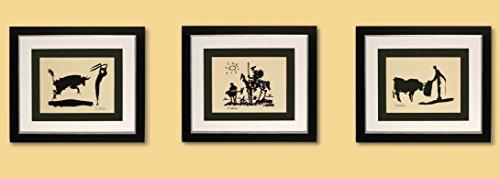 3 Kunstdrucke Bilder Pablo Picasso Bullfighter / Picador / Don Quixot signiert mit Rahmen 51 x 44 cm...