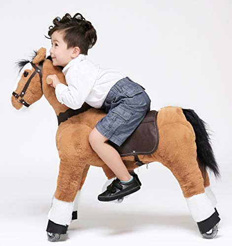 UFREE Horse Great Gift for Boy Action Pony Toy, Ride on Medium 36'' for Children 4 Years Old to 9 Years Old. (Black Mane and Tail)