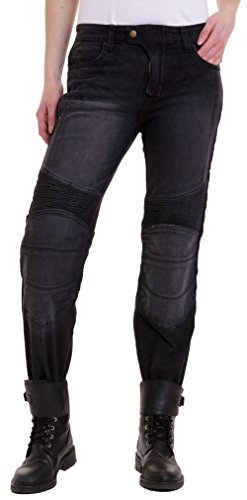 Qaswa MujerMotocicleta Pantalones Jeans Protector Revestimiento Motorcycle Biker Denim Pants