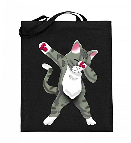 Dabbing Cat Katze Cats Kitty Kitten Welpen Süß Hipster - Schlichtes Und Witziges Design - Jutebeutel (mit langen Henkeln)