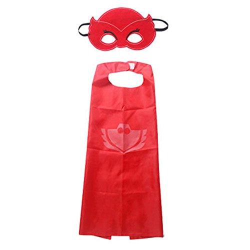stayeal 1Set Umhang + Maske Owlette catboy Cosplay Kinder Kostüm Party Outfit Geschenke, rot, Siehe Produktbeschreibung