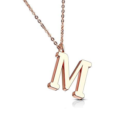Bungsa Buchstabe M Kette Rosegold - Buchstaben-ANHÄNGER M Halskette in Rosegold - Alphabet Kette Rosé - aus Edelstahl - Schmuck für Damen, Kinder & Herren