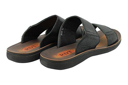 en cuir pour homme Noir Marron Big Taille d'été Mules Tongs Sandales de plage Chaussons Noir