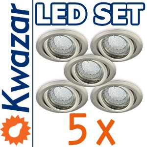 SUPER SET 5er: K-19 Einbaustrahler + LED Lampe 20p /20W + GU10 Fassung 230V