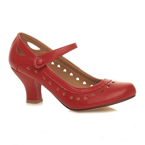 Herzmuster Mary Jane mittlerer Absatz Feinmachen Pumps Schuhe