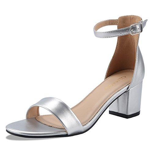 Qimaoo Damen Riemchensandalen 6cm Blockabsatz Sandalen Knöchelriemen Sandaletten Sommer High Heels Schuhe mit Absatz - Silber - 39 EU