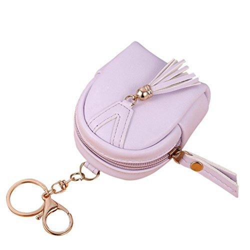 Portafoglio Donna, Tpulling le donne semplice chiave borsa, portafoglio tassel portamonete titolari borsa (Pink) Purple
