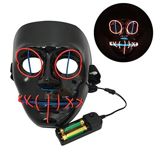 Kostüm Draht El Kinder - DingLong Halloween LED Maske Mehrfarbig - Horror EL Draht leuchtet PVC Mask Light Up Cosplay für Erwachsene Kinder Halloween Kostüm Fest Party Verkleidung Maskenball Unfug (Orange)