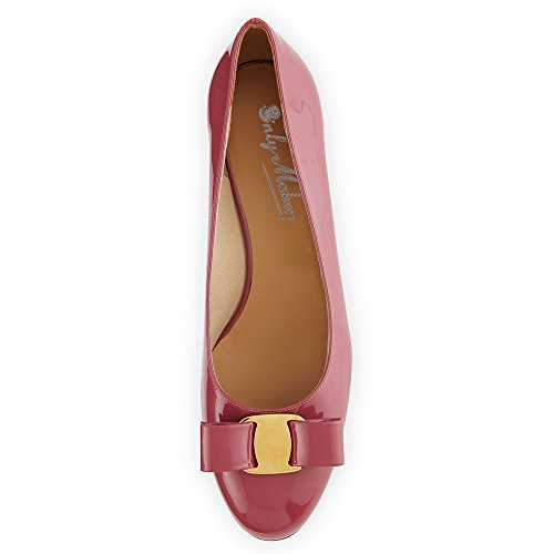 Onlymaker Damen Pumps High Heels Ballerinas Geschlossene Casual Schuhe dunkel rosa