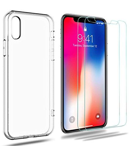 iPhone X Panzerglas + Hülle,iLiebe [2 Stück] iPhone X Schutzfolie Case Friendly, 9H gehärtetes Glas, Antikratz, Glas 0.33mm und Transparent Handyhülle TPU Durchsichtige Schutzhülle für iPhone X / 10