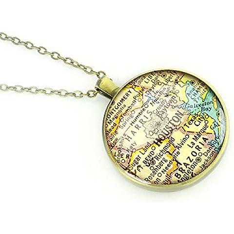 Houston 1969 mappa Texas-Collana con pendente in argento, regalo per ragazza