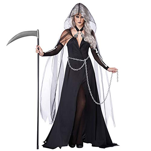 MIAO Halloween Cosplay Kostüm Adult Cosplay Hexenkostüm Vampire Dämon Ghost Cloak Anzug Uniform Party Kostüm Death Kleidung Geeignet Für Karneval Thema Parteien,Black,OneSize (Adult Ghost Kostüm)