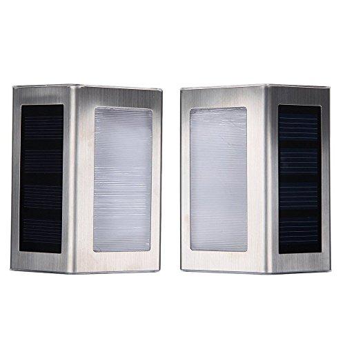 GamutTek 2PCS in acciaio inox LED solare scala luce solare luci scala solare illuminazione LED luci del giardino all