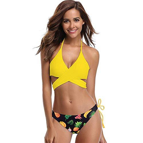 WYJW Geteilter Bikini-Badeanzug mit gekreuzter Krawatte und Softbag-Aufdruck -