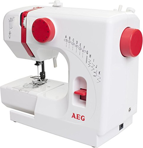 AEG Nähmaschine, Kunststoff, Metall, weiß/rot, 29 x 23.5 x 12 cm