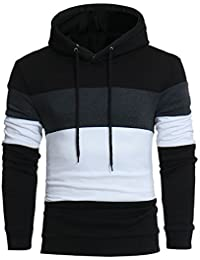 BUSIM Men's Long Sleeved Sweater Autumn Winter Multi-Color Stitching Sound-Absorbing Hooded Hooded Hooded Sweatshirt...