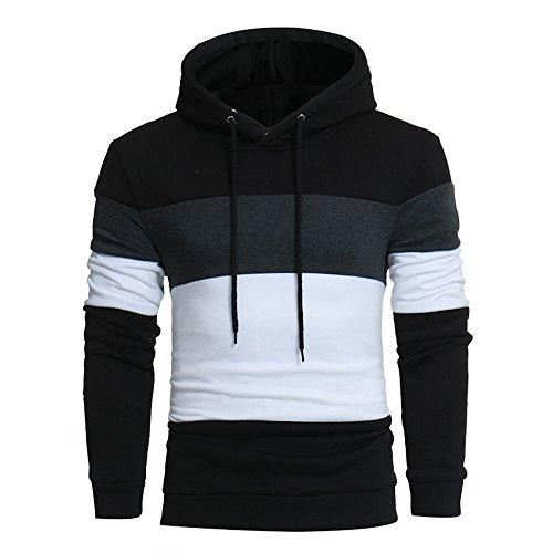 Xmiral Men Hoodie Sweatshirt Langarm-Patchwork-Kapuzenoberteil-Jacke Outwear(XL,Schwarz)