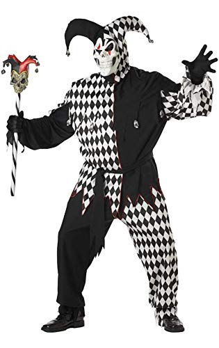 Horror Hofnarr Übergröße Kostüm Schwarz und Weiß Herren Größe - Übergrößen Kostüm