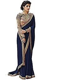 Glamant Crepe Chiffon Designer Saree With Heavy Work Blouse Piece (1008_Blue_Free Size)