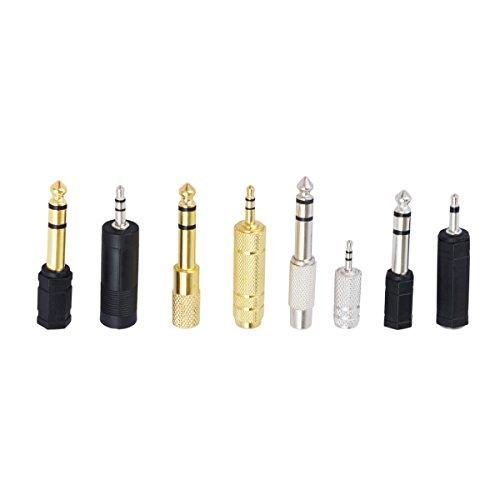 CE-Link Stereo Audio Adapter 6.35mm Klinkenstecker auf 3.5mm Klinken Buchse + 6,35mm Klinken-Buchse zu 3,5mm Klinken-Stecker für Kopfhörer oder Lautsprecher, Metall, 8 Stück - Gold und Silber
