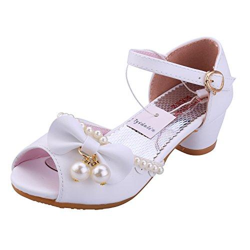 Sandales Fille, Chaussures à talon Ballerine Princesse Enfant Blanc pour Ceremonie Mariage Déguisement - Tyidalin - Blanc - Taille 26EU
