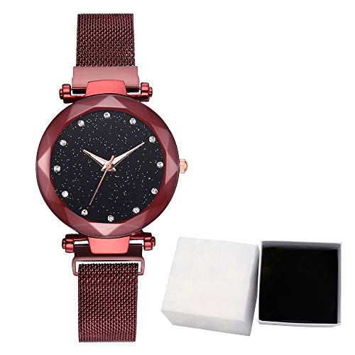 Yallylunn Fashion Starry Sky Dial Quartz Mesh Belt Magnetic Buckle Ladies Watch with Box Diamantbesetzter Sternenhimmel Exquisites