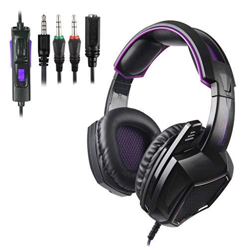 Verdeckte Audio (Pathside for SADES SA920 Kopfhörer mit verdecktem Mikrofon, 3,5 mm Klinkenstecker, Headset, Headset, Audio-Übertragungsverdrahtung für PS4 schwarz)