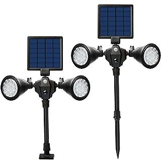 Solar LED Scheinwerfer, LED Solar Gartenleuchte mit PIR Bewegungmelder, Upgraded Doppelkopf Solar Wandleuchte, 12 LEDs Wasserdicht 360 Grad drehbare Außenbeleuchtung, für Hof Garten Garage Portal Plattform Straße (Warmweiß)