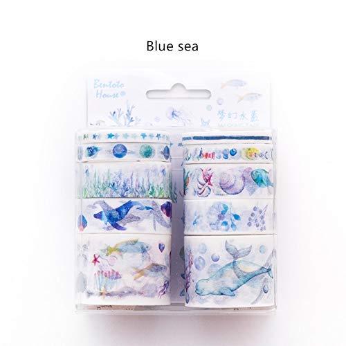 JBSZWDD Washi Tape 10 Stücke Candy Stadt Farbe Papier Washi Klebeband Set Blaues Meer Lila Nebelfleck Rote Dekoration Masking Tapes Aufkleber Geschenk Schreibwaren