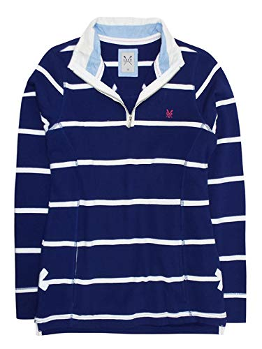 Crew Clothing Cotton Rich Zip Neck Striped Sweatshirt - Navy (8)