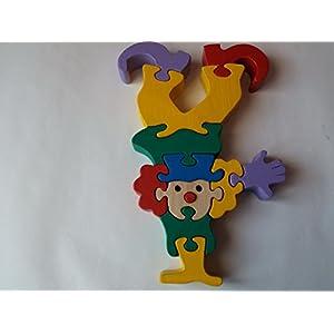 Holzpuzzle Clown handgemachte Zirkusclown Spielzeug Geschenk für Kinder massiv Buchenholz Spielzeug lustige Männer