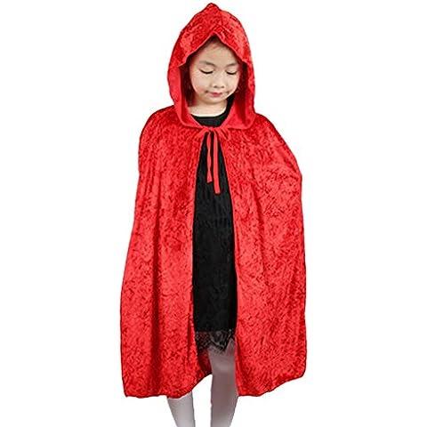 DELEY Niños de Halloween de las Niñas de Terciopelo con Capucha Capa del Cabo de Disfraces