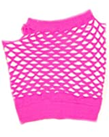 Short Fishnet Fingerless Gloves - Hot Pink