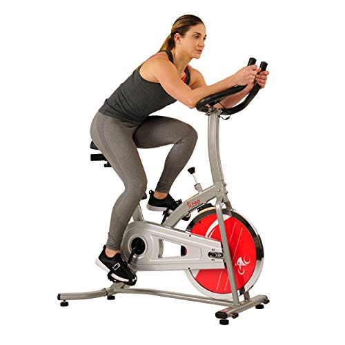 Sunny Health & Fitness Fahrrad-heimtrainer Indoor Cycling Bike SF-B1203 Filzbremse, 100 kg max, Gewicht-SF-B1203, Fitnesscomputer, verstellbarer Sattel, Hometrainer