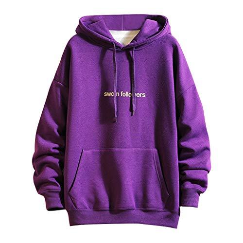 MOTOCO Herren Hoodie Sweatshirt Lässige Letter Drucken Langarm Tasche Kordelzug Pullover Hoodies Sweater(L,Lila)