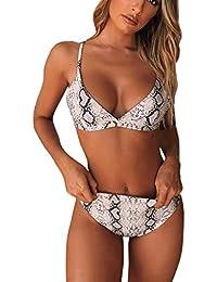 687024e8c4a76 Trajes de baño Mujer 2019 SHOBDW Bikinis Conjunto De Bikini Muy Bajo Moda Sujetador  Push-Up Acolchado Estampado De Serpiente Ropa De Playa…