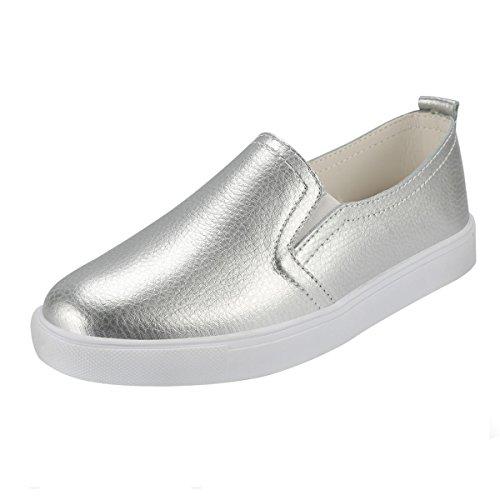 Zapatos sin Cordones para Mujer QIMAOO Zapatos de Cuero Zapatos Slip on Zapatillas Planos Casuales Calzado Deportivo Zapatillas Estudiante