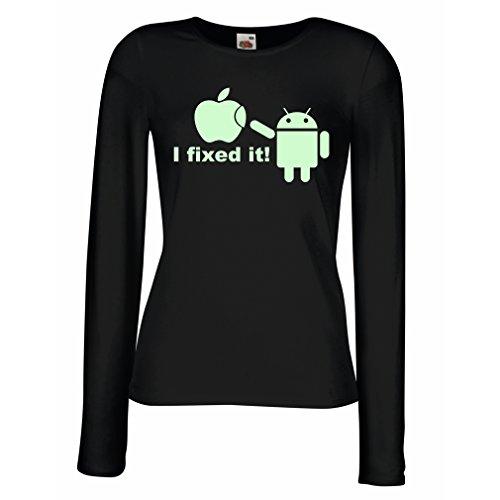 Weibliche langen Ärmeln T-Shirt Android Roboter und Apple Lustige Google Droid Parodie Humor Geek T-Shirt Schwarz Fluoreszierend