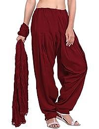 Ladies Maroon Cotton Regular Fit With Dupatta Dupatta Patiala Set