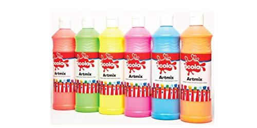 Scola - Artmix, Set di flaconi di pittura fluorescente, 6 x 600 ml