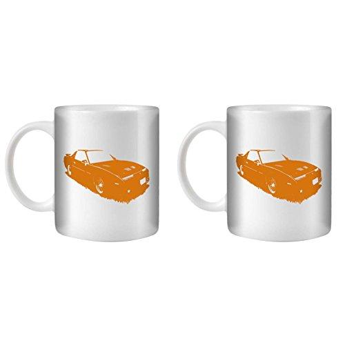 Stuff4® Tee/Kaffee Becher 350ml/2 Pack Orange/1987 Firebird Trans Am GTA/Weißkeramik/ST10