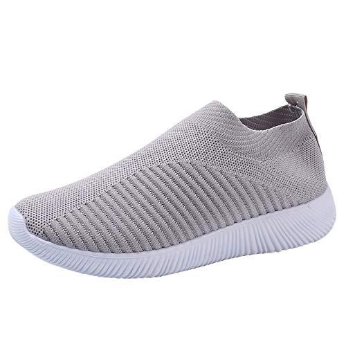 YWLINK Damen Socken Schuhe Outdoor Schuhe Freizeit Slip On Bequeme Sohlen Sports Licht Atmungsaktiv Mesh Sneakers Laufschuhe Turnschuhe Fitnessschuhe Bequeme Schuhe(Grau,36 EU) -