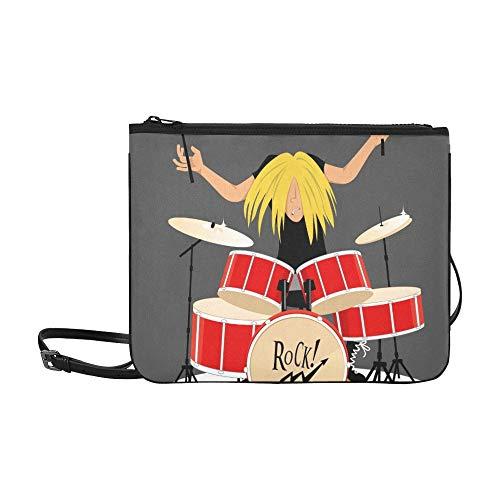 Rock-Roll-Musiker Spieltrommeln Benutzerdefinierte hochwertige Nylon-dünne Clutch-Tasche Umhängetasche mit Umhängetasche